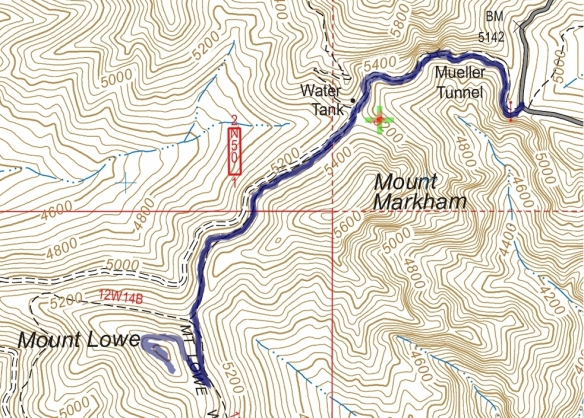 Eaton Saddle to Mt. Lowe Track Map from January 2015  using Backcountry Navigator (US Forest Service-2013 map) from my phone.