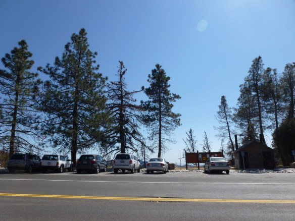 View of parking at Charlton Flats, Angeles Crest Highway