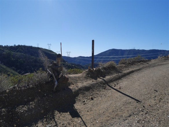 Junction of road and lower portion of the Silver Moccasin Trail leading toward West Fork Trail Camp.