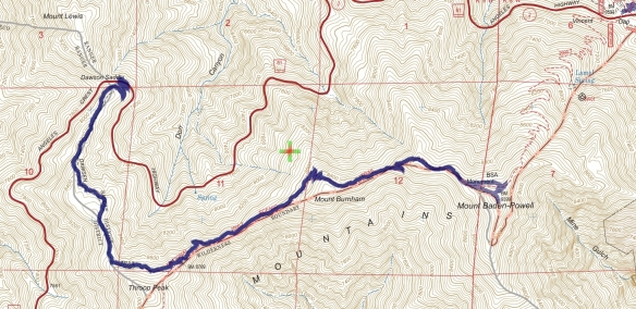 Track map for Dawson Saddle to Mt. Baden-Powell from July 2015 using Backcountry Navigator (US Forest Service-2013 map) from my phone.