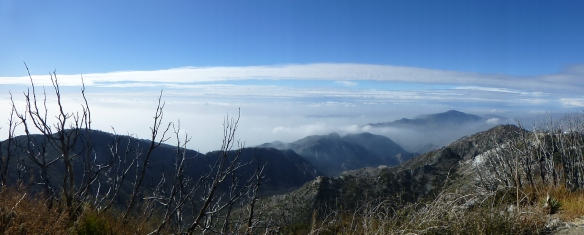 View West from San Gabriel Peak at 12:26 pm with some clouds beginning to make it over Brown Mountain.
