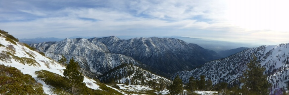 View looking down the Baldy Bowl Trail and across toward Thunder Mountain, Telegraph Peak, Timber Mountain, Cucamonga Peak, and Ontario Peak. (click to enlarge).