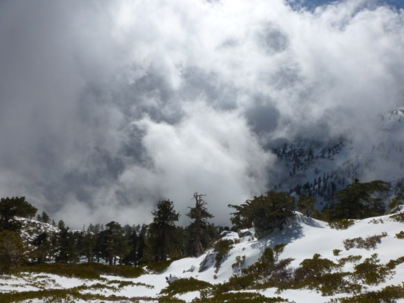 Swirling and turbulent clouds made an amazing trek down to the trailhead.