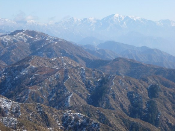 Zoomed in view of Mt. Baldy from the San Gabriel Peak Trail.