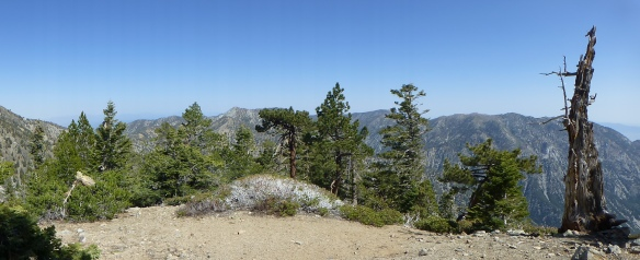 View out toward Three Tees, Cucamonga Peak, and Ontario Peak.