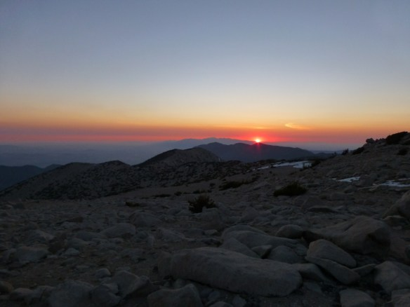 Sunset from in front of the bump on Mt. San Gorgonio where I ate dinner.