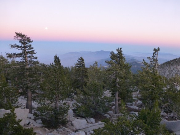 View of supermoon in the distance from the peak scramble up to Mt. San Jacinto.
