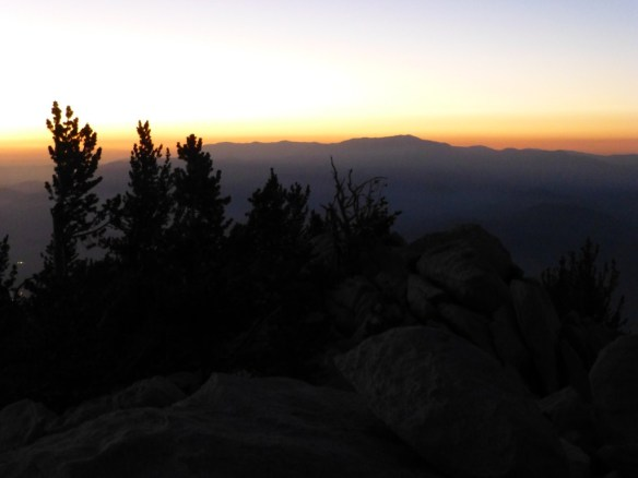 Dusk view toward Mt. San Gorgonio from Mt. San Jacinto.