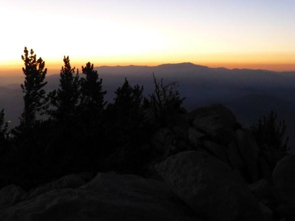 Dusk view toward Mt. San Gorgonio from Mt. San Jacinto.