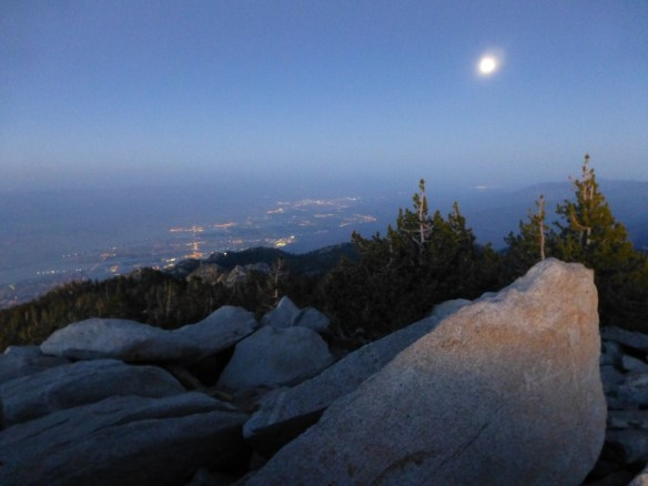 View toward Palm Springs as nightfall approached from Mt. San Jacinto.