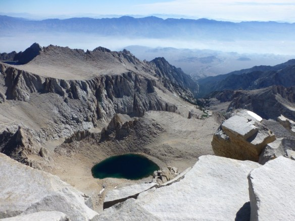 View east from Mt. Whitney on August 1, 2011. The haze in the Owens Valley is from smoke from fires further north.