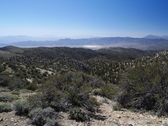 View toward Deer Springs Lake with the mountain ranges of Death Valley in the distance.