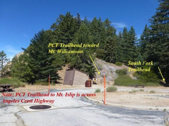 Trailheads at Islip Saddle.