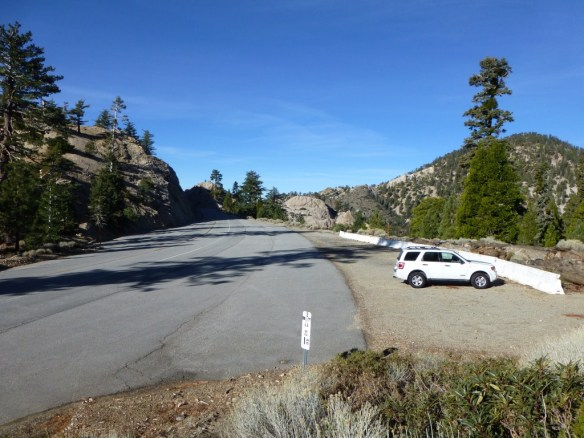 View of Pacific Crest Trailhead heading west (away from Islip Saddle) along Angeles Crest Highway.