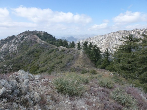 "View from the ""use trail"" following the ridge from Inspiration Point looking toward Inspiration Peak (Unofficial Name), February 2012."
