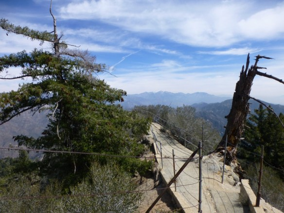 Path to the lookout at Mt. Wilson looking toward Mt. Baldy, May 2014.