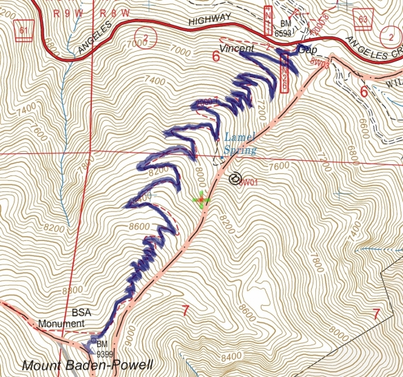 Vincent Gap to Mt. Baden-Powell Track Map from June 2016 using Backcountry Navigator (US Forest Service-2013 map) from my phone.