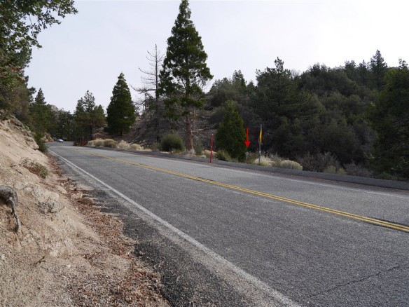 View of the trail crossing of Angeles Crest Highway at Three Points