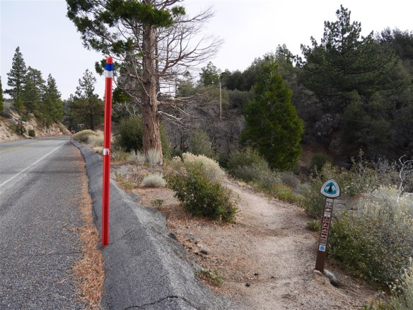 View of the trailhead coming up from Three Points making the first crossing of Angeles Crest Highway.