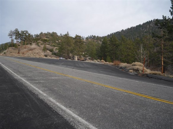 View toward parking area at Pacific Crest Trail crossing of Angeles Crest Highway from Mile Marker 54.10