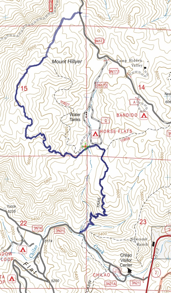 Hike #044 Mt. Hillyer track map using Backcountry Navigator (US Forest Service-2013 map) from my phone.