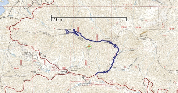 Hike #005 track map using Backcountry Navigator (US Forest Service-2013 map) from my phone.