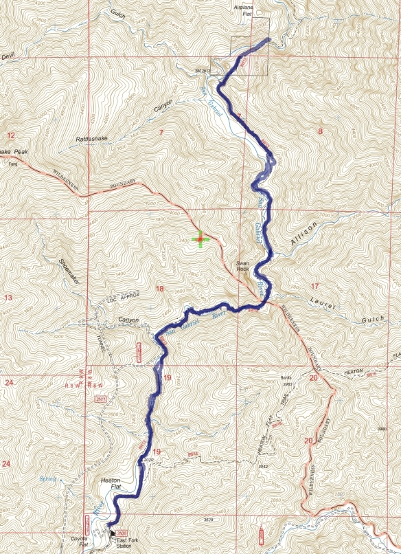Track map for East Fork to Bridge to Nowhere from January 2015 using Backcountry Navigator (US Forest Service-2013 map) from my phone.