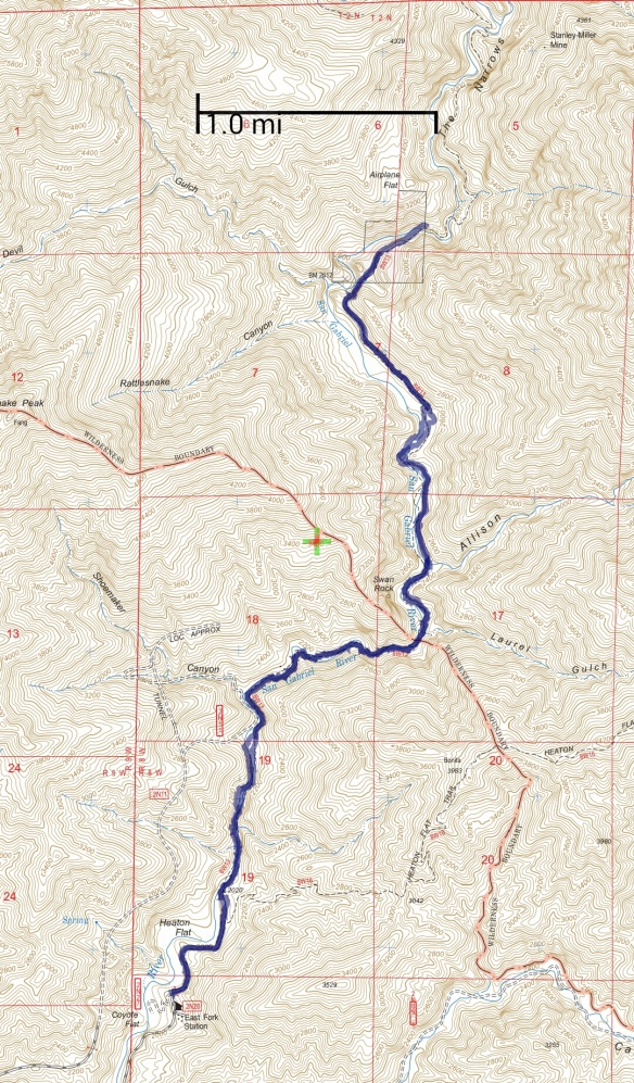 Hike #006 track map using Backcountry Navigator (US Forest Service-2013 map) from my phone.