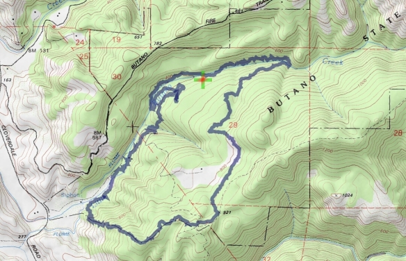 Hike #023 (Butano State Park) track map using Backcountry Navigator (Accuterra-2013 map) from my phone.