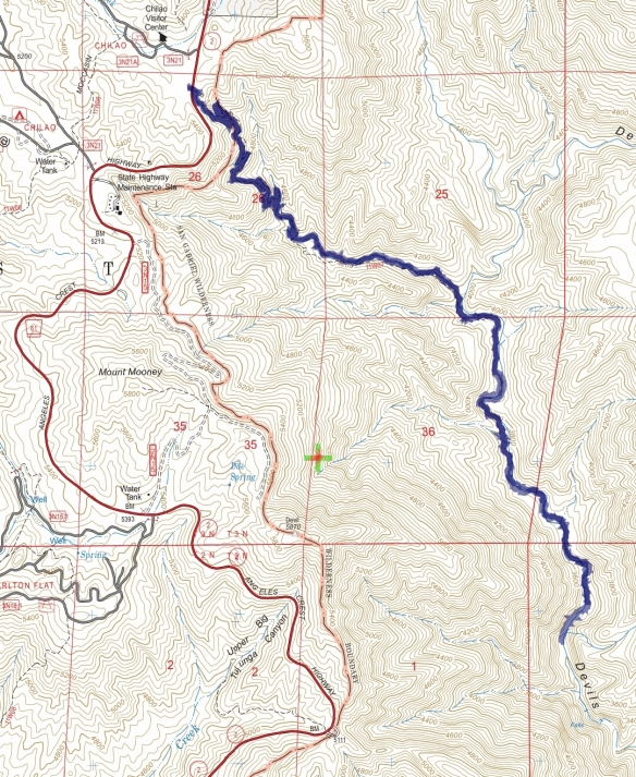Hike #013 track map using Backcountry Navigator (US Forest Service-2013 map) from my phone.