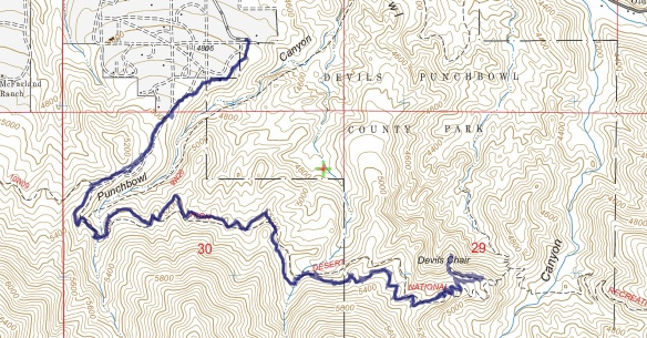 Hike #049 Devil's Chair track map using Backcountry Navigator (US Forest Service-2013 map) from my phone