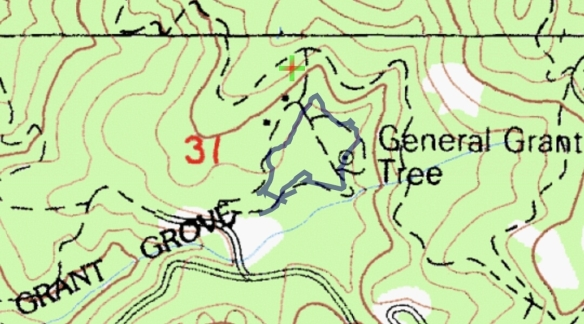 Hike #040 Grant Grove track map using Backcountry Navigator (Cal Top Map) from my phone.