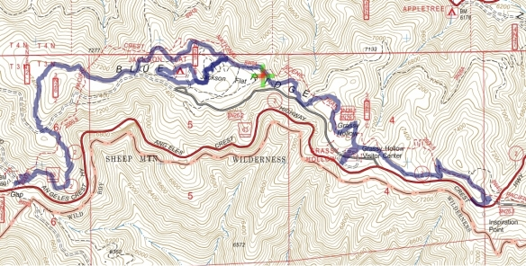 Hike #032 (PCT) track map using Backcountry Navigator (US Forest Service-2013 map) from my phone.