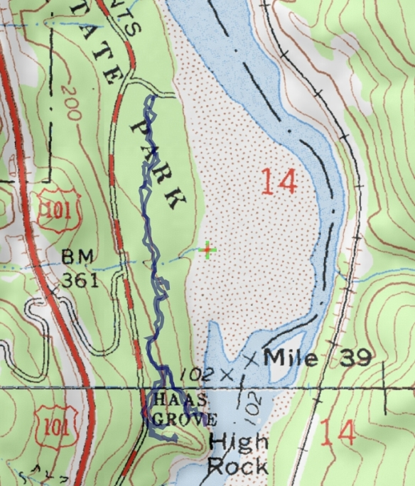 Hike #025 (Humboldt Redwoods State Park) track map using Backcountry Navigator (Accuterra-2013 map) from my phone.