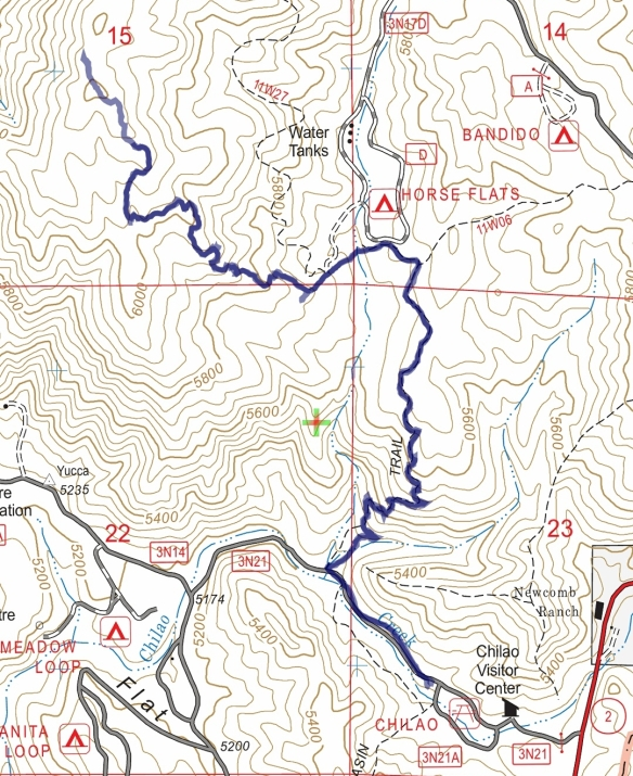Hike #014 (Mt. Hillyer) track map using Backcountry Navigator (US Forest Service-2013 map) from my phone.