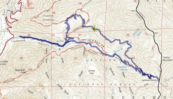 Hike #036 Icehouse Canyon track map using Backcountry Navigator (US Forest Service-2013 map) from my phone.