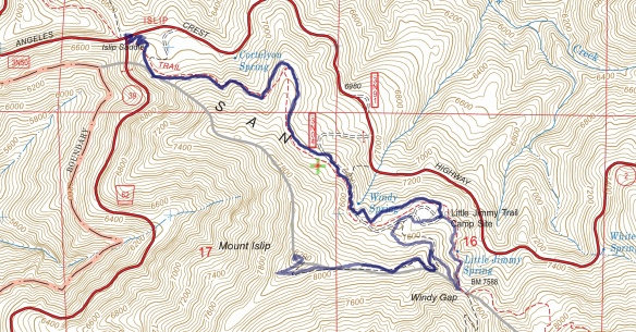 Hike #012 track map using Backcountry Navigator (US Forest Service-2013 map) from my phone.