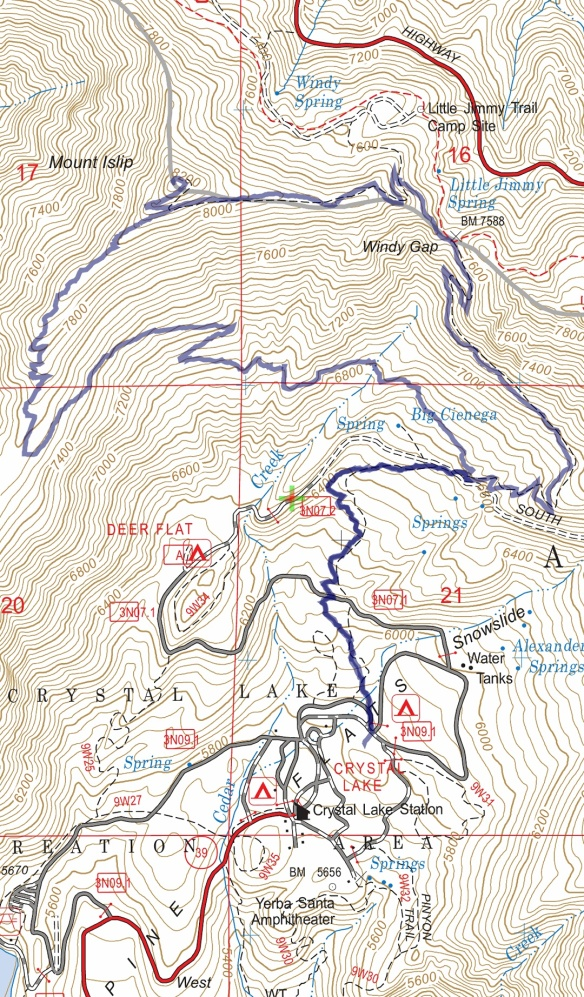 Hike #017 (Mt. Islip) track map using Backcountry Navigator (US Forest Service-2013 map) from my phone.