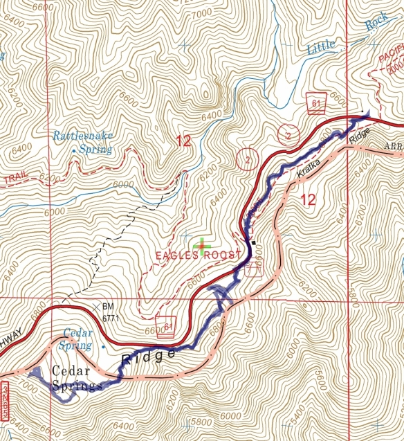 Hike #015 (Kratka Ridge) track map using Backcountry Navigator (US Forest Service-2013 map) from my phone.