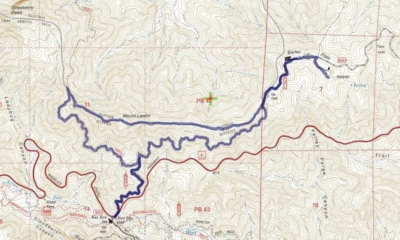 Hike #020 (Mt. Lawlor) track map using Backcountry Navigator (US Forest Service-2013 map) from my phone.