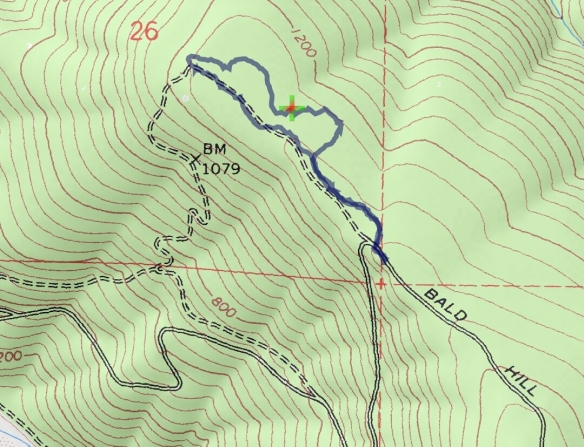 Hike #026 (Redwood National Park) track map using Backcountry Navigator (Accuterra-2013 map) from my phone.