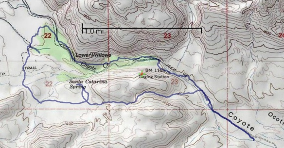 Hike #001 track map using Back Country Navigator (USA Topo Maps-ArcGIS) from my phone.