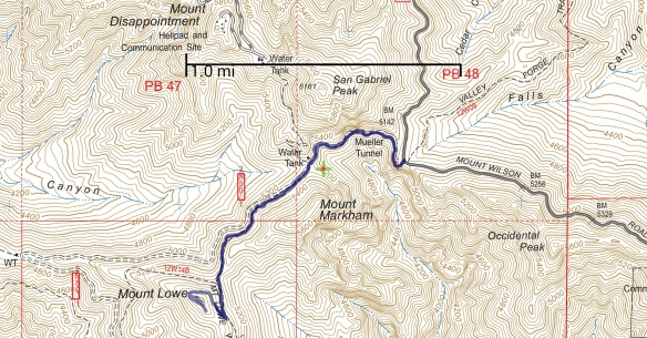 Hike #007 track map using Backcountry Navigator (US Forest Service-2013 map) from my phone.