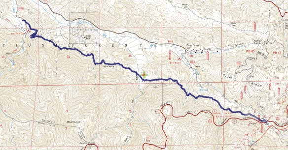 Hike #021 (Manzanita Trail) track map using Backcountry Navigator (US Forest Service-2013 map) from my phone.