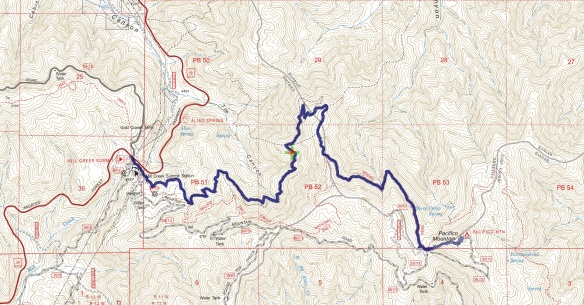 Hike #009 track map using Backcountry Navigator (US Forest Service-2013 map) from my phone.