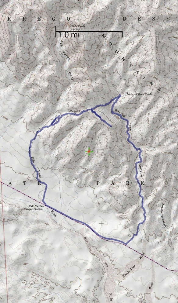 Hike #003 track map using Back Country Navigator (USA Topo Maps-ArcGIS) from my phone.