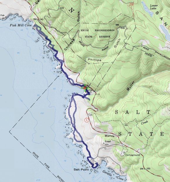 Hike #024 (Salt Point State Park) track map using Backcountry Navigator (Accuterra-2013 map) from my phone.