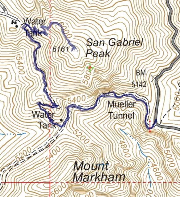 Hike #047 San Gabriel Peak track map using Backcountry Navigator (US Forest Service-2013 map) from my phone