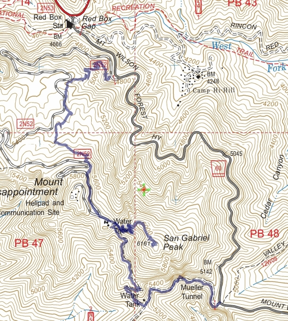 Hike #019 (San Gabriel Peak) track map using Backcountry Navigator (US Forest Service-2013 map) from my phone.