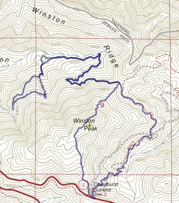 Hike #035 Squaw Canyon track map using Backcountry Navigator (US Forest Service-2013 map) from my phone.